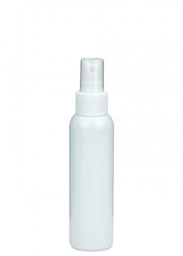 PET Flasche AIDA 100 ml weiss mit Spray Zerstäuber Pumpe Basic 24/410 weiss