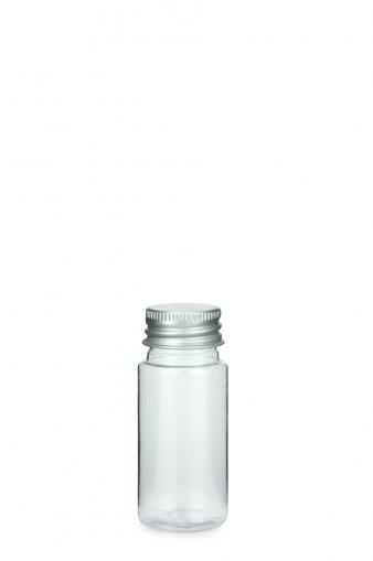 PETG Flasche LEONORA 30 ml klar mit Alu Schraubkappe 24/410