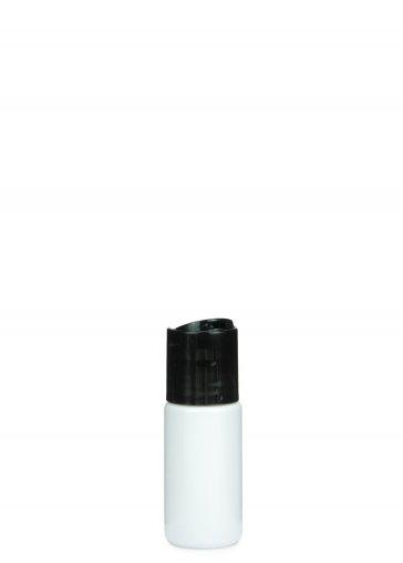PETG Flasche LEONORA 30 ml weiß mit Disc Top Schraubverschluss 24/410 schwarz