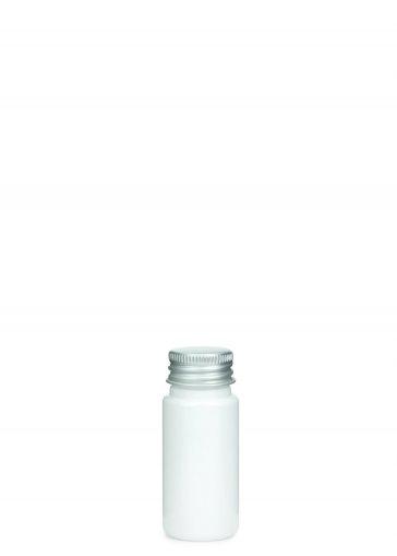 PETG Flasche LEONORA 30 ml weiß mit Alu Schraubkappe 24/410