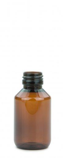 PET Laborflasche 100 ml braun ohne Verschluss