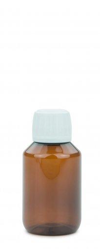 PET Laborflasche 100 ml braun mit Schraubverschluss 28 ROPP Originalität weiss