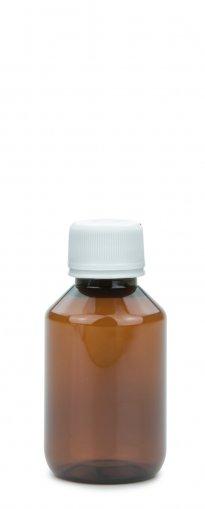 PET Laborflasche 100 ml braun mit Schraubverschluss 28 ROPP Originalität Basic weiss