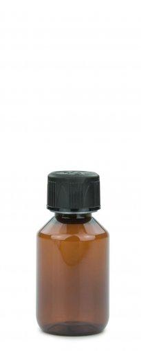 PET Laborflasche 100 ml braun mit Schraubverschluss 28 ROPP Originalität KISI schwarz