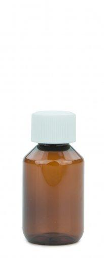 PET Laborflasche 100 ml braun mit Schraubverschluss 28 ROPP Originalität KISI weiss