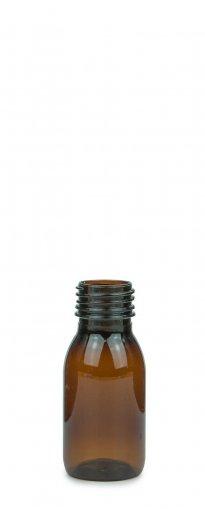 PET Laborflasche Sirup 50 ml braun ohne Verschluss