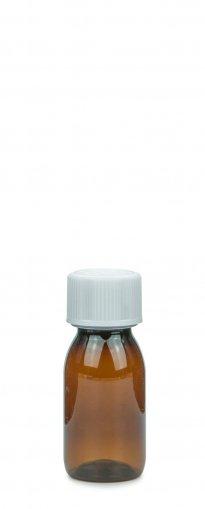 PET Laborflasche Sirup 50 ml braun mit Schraubv. 28 ROPP Originalität KISI weiß