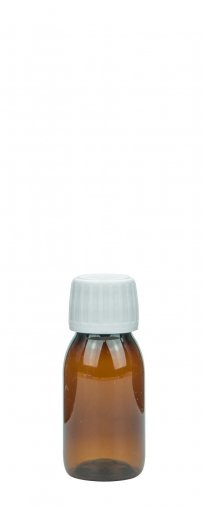 PET Laborflasche Sirup 50 ml braun mit Schraubv. 28 ROPP Originalität Spritzseinsatz 3,5 mm weiss