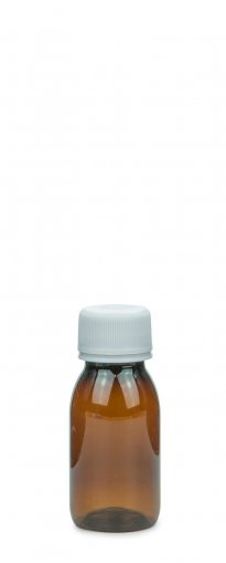 PET Laborflasche Sirup 50 ml braun mit Schraubv. 28 ROPP Originalität Basic weiß