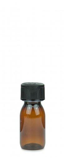 PET Laborflasche Sirup 50 ml braun mit Schraubverschluss 28 ROPP Originalität KISI schwarz