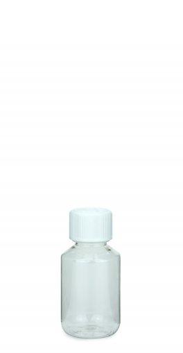 PET Laborflasche 100 ml klar mit Schraubverschluss 28 ROPP Originalität KISI weiss