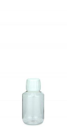 PET Laborflasche 100 ml klar mit Schraubverschluss 28/410 Originalität weiss