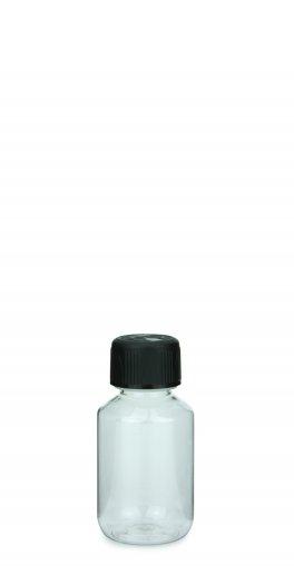 PET Laborflasche 100 ml klar mit Schraubverschluss 28 ROPP Originalität KISI schwarz