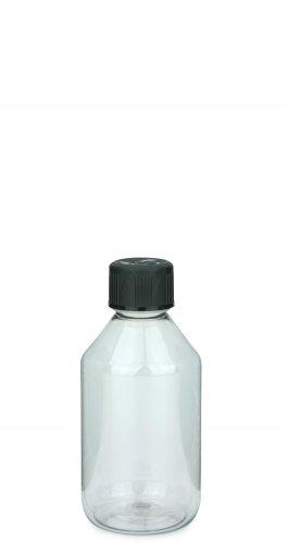 PET Laborflasche 250 ml klar mit Schraubverschluss 28 ROPP Originalität KISI schwarz