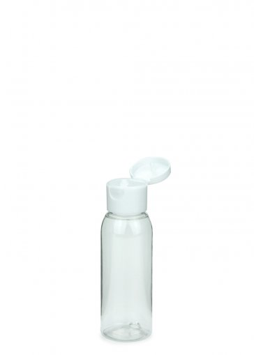 PET Flasche RIGOLETTO 60 ml klar mit Klapp- Schraubverschluss 24/410 weiß