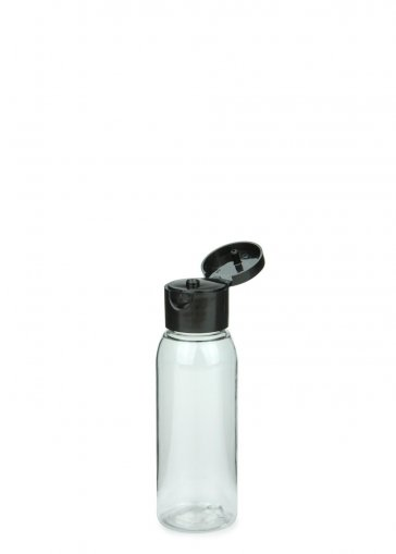 Recycling PET Flasche RIGOLETTO 60 ml klar mit Klapp- Schraubverschluss 24/410 schwarz