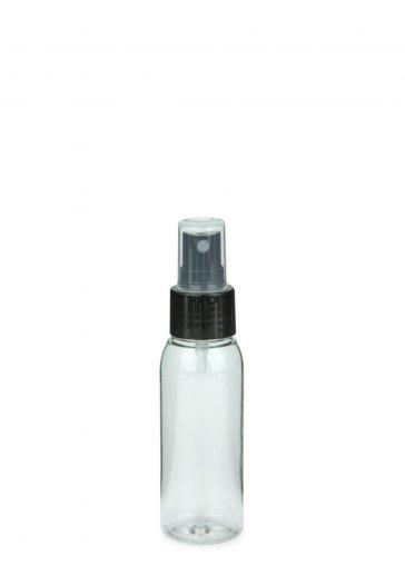 Recycling PET Flasche RIGOLETTO 60 ml klar mit Spray Zerstäuber 24/410 Basic schwarz glatt