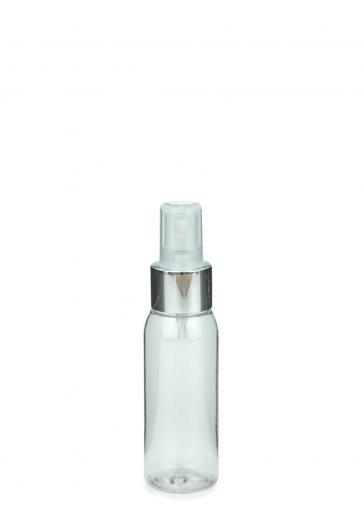 Recycling PET Flasche RIGOLETTO 60 ml klar mit Spray Zerstäuber Pumpe Luxury 24/410 natur/metall