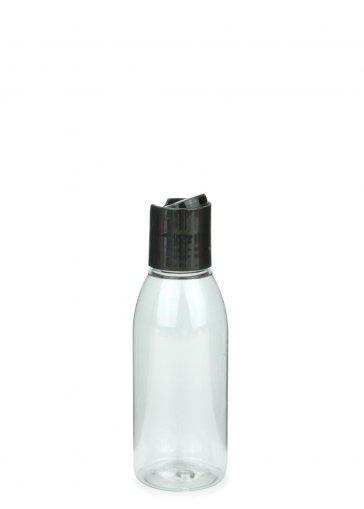 PET Flasche RIGOLETTO 100 ml klar mit Disc Top Schraubverschluss 24/410 schwarz Karton