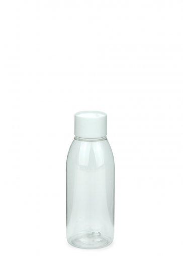 PET Flasche RIGOLETTO 100 ml klar mit Schraubverschluss 24/410 weiß glatt mit Spritzeinsatz 3 mm