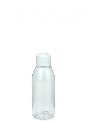 PET Flasche RIGOLETTO 100 ml klar mit Schraubverschluss 24/410 weiß glänzend