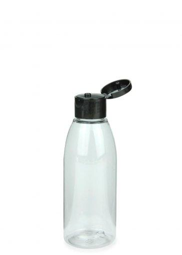 Recycling PET Flasche RIGOLETTO 150 ml klar mit Klapp- Schraubverschluss 24/410 schwarz