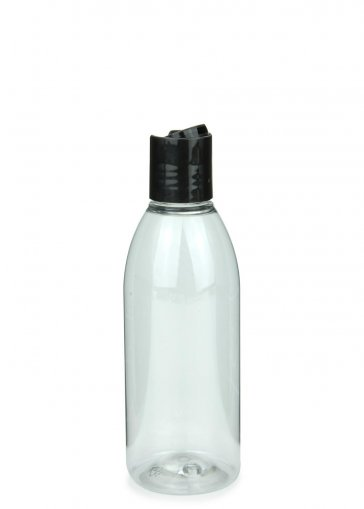 Recycling PET Flasche RIGOLETTO 200 ml klar mit Disc Top Schraubverschluss 24/410 schwarz