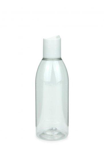 Recycling PET Flasche RIGOLETTO 200 ml klar mit Disc Top Schraubverschluss 24/410 weiss