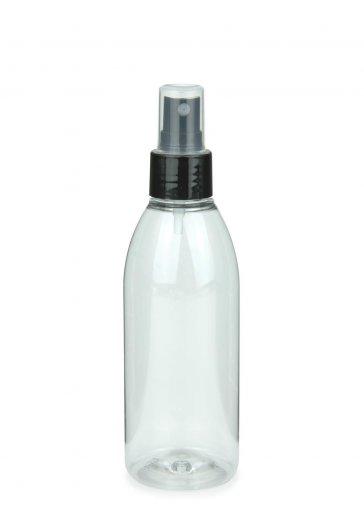 Recycling PET Flasche RIGOLETTO 200 ml klar mit Spray Zerstäuber 24/410 Basic schwarz glatt