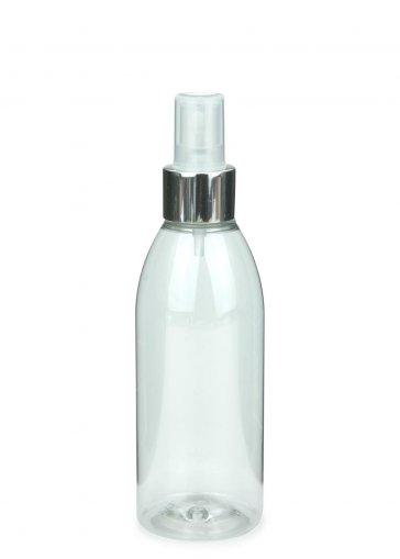 Recycling PET Flasche RIGOLETTO 200 ml klar mit Spray Zerstäuber Pumpe Luxury 24/410 natur/metall