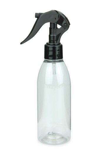 Recycling PET Flasche RIGOLETTO 200 ml klar mit Mini Trigger Sprühpistole 24/410 schwarz