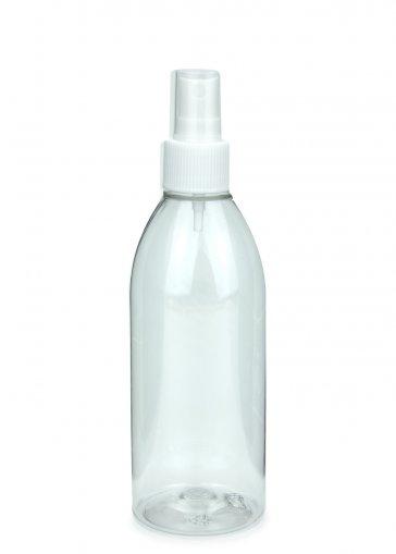 Recycling PET Flasche RIGOLETTO 250 ml klar mit Spray Zerstäuber 24/410 Basic weiss
