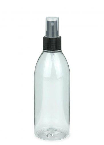 Recycling PET Flasche RIGOLETTO 250 ml klar mit Spray Zerstäuber 24/410 Basic schwarz
