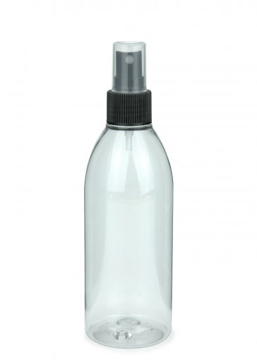 Recycling PET bottle RIGOLETTO 250 ml clear with Fine mist sprayer 24/410 black, tube length 163 mm
