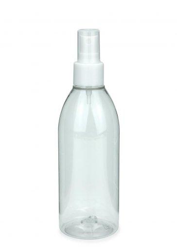 Recycling PET Flasche RIGOLETTO 250 ml klar mit Spray Zerstäuber 24/410 Basic weiss glatt