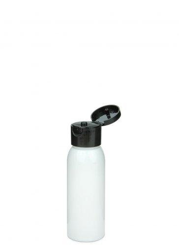 Recycling PET Flasche RIGOLETTO 60 ml weiß mit Klapp- Schraubverschluss 24/410 schwarz