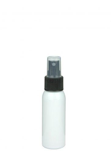 Recycling PET Flasche RIGOLETTO 60 ml weiß mit Spray Zerstäuber 24/410 Basic schwarz