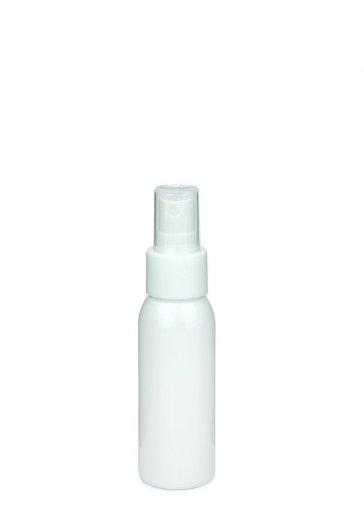 Recycling PET Flasche RIGOLETTO 60 ml weiß mit Spray Zerstäuber 24/410 Basic weiss glatt