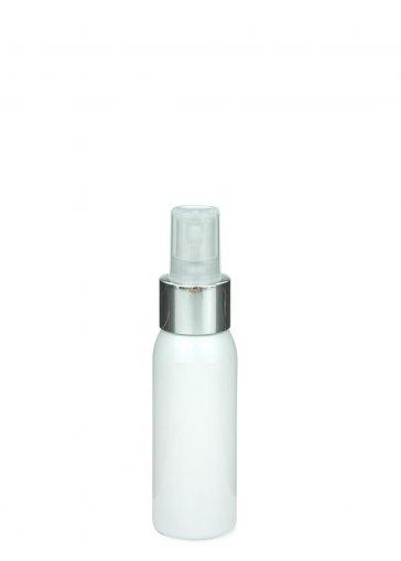 Recycling PET Flasche RIGOLETTO 60 ml weiß mit Spray Zerstäuber Pumpe Luxury 24/410 natur/metall