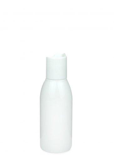 Recycling PET Flasche RIGOLETTO 100 ml weiß mit Disc Top Schraubverschluss 24/410 weiss