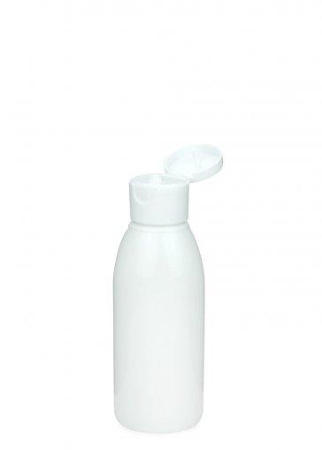 PET Flasche RIGOLETTO 100 ml weiß mit Klapp- Schraubverschluss 24/410 weiß