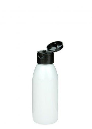 Recycling PET Flasche RIGOLETTO 100 ml weiß mit Klapp- Schraubverschluss 24/410 schwarz
