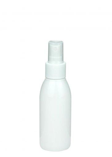 Recycling PET Flasche RIGOLETTO 100 ml weiß mit Spray Zerstäuber 24/410 Basic weiss