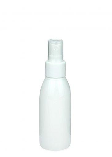 Recycling PET Flasche RIGOLETTO 100 ml weiß mit Spray Zerstäuber 24/410 Basic weiss glatt