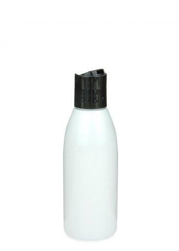 Recycling PET Flasche RIGOLETTO 150 ml weiß mit Disc Top Schraubverschluss 24/410 schwarz