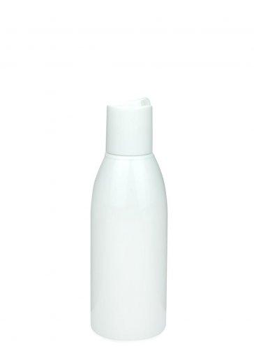 Recycling PET Flasche RIGOLETTO 150 ml weiß mit Disc Top Schraubverschluss 24/410 weiss