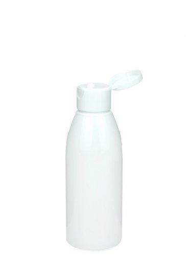 Recycling PET Flasche RIGOLETTO 150 ml weiß mit Klapp- Schraubverschluss 24/410 weiß