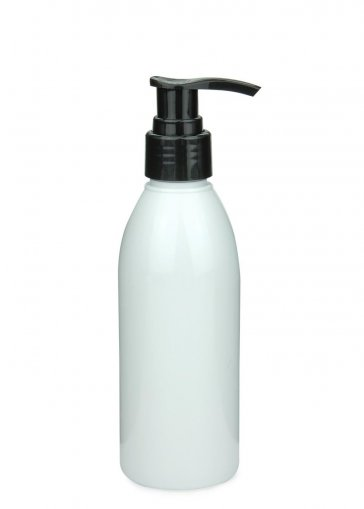 Recycling PET Flasche RIGOLETTO 200 ml weiß mit Seifenpumpe schwarz, 24/410 glatt