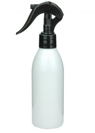 Recycling PET Flasche RIGOLETTO 200 ml weiß mit Mini Trigger Sprühpistole 24/410 schwarz