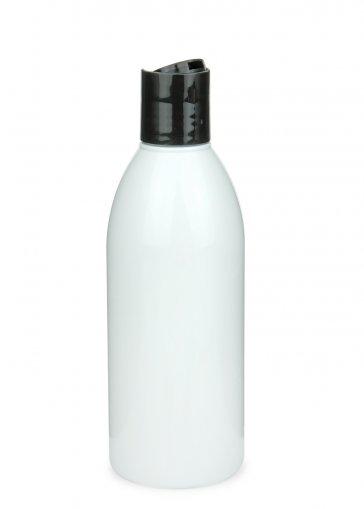 PET Flasche RIGOLETTO 250 ml weiß mit Disc Top Schraubverschluss 24/410 schwarz